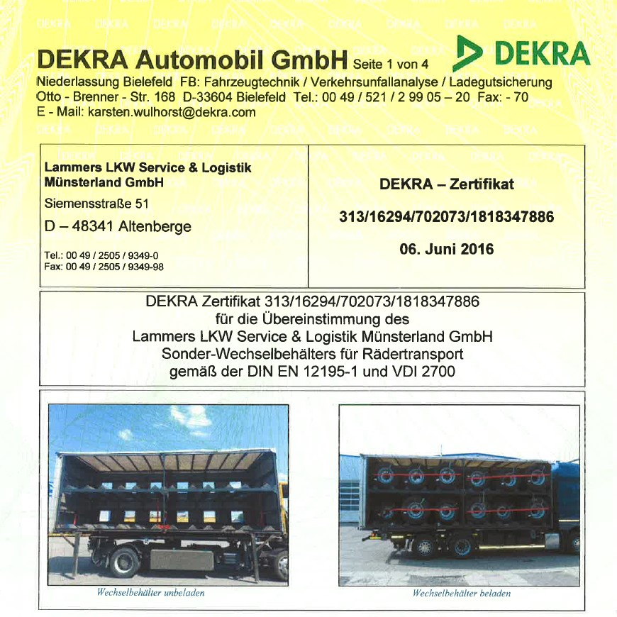 DEKRA-Zertifikat Wechselbehälter Rädertransport